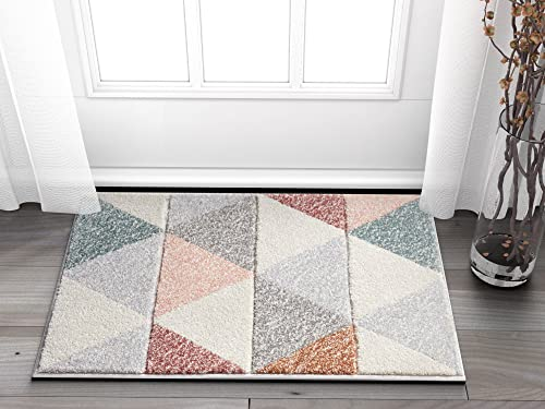 Well Woven Suave Angles Dusty Pink Red Copper Blue Grey Modern Geometric Hand Carved 2 x 3 Area Rug Easy to Clean Stain Fade Resistant Thick Soft Plush