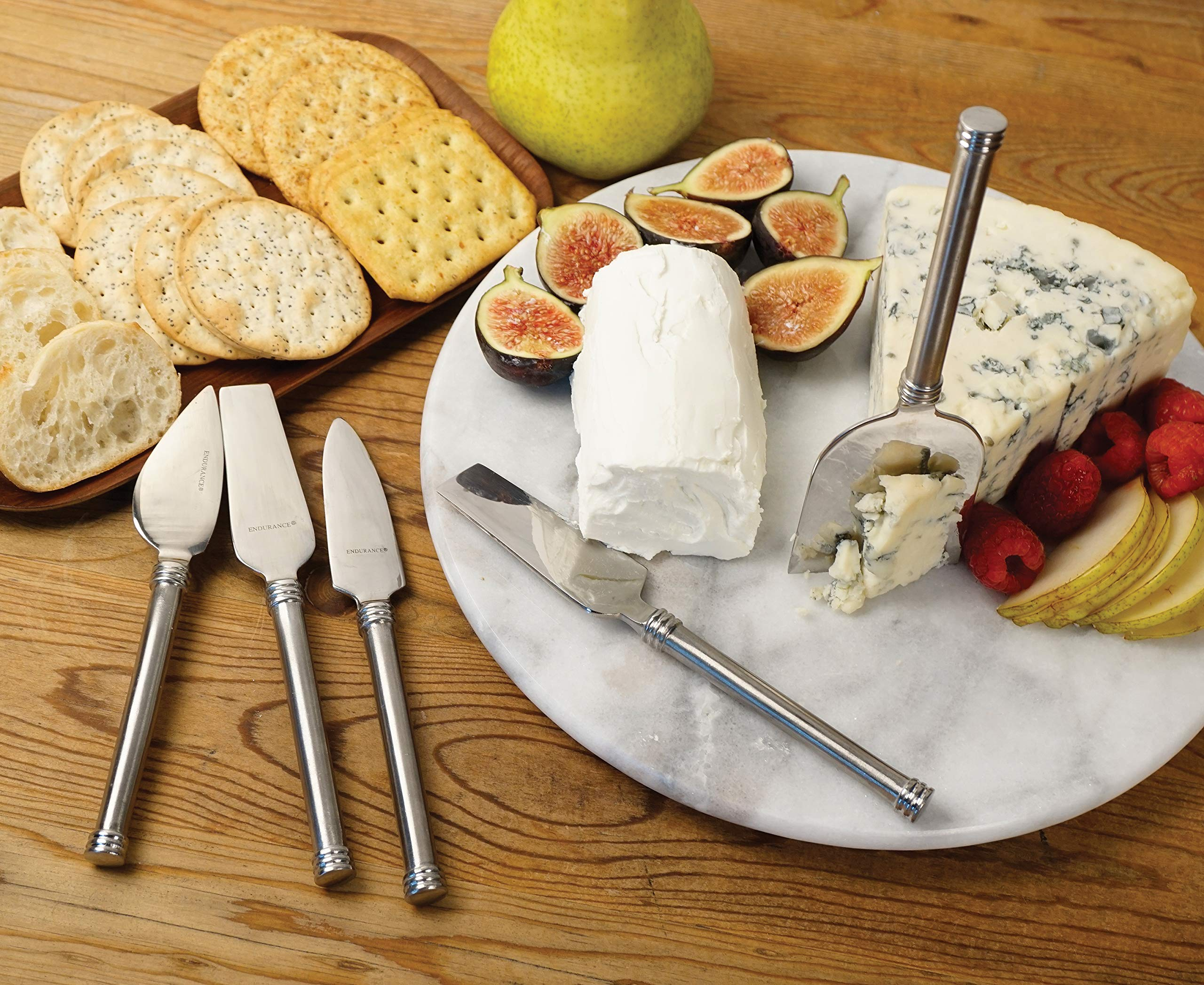 RSVP International Endurance (NIVE-5) Stainless Steel Cheese Knives, Set of 5 | Five Different Blades | Cut & Serve Cheeses in Style | Great for Parties, Events, or Home Use | Dishwasher Safe by RSVP International