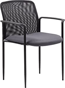 Boss Office Products Stackable Mesh Guest Chair in Grey