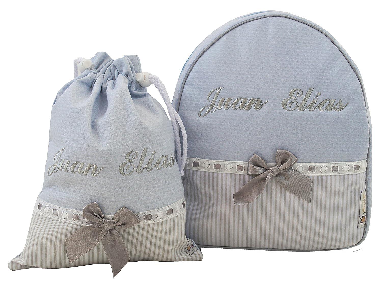 Conjunto guardería o colegio: Mochila + bolsa de merienda lenceras personalizadas con nombre en plastificado y tela celeste, rayas gris y pasacintas gris