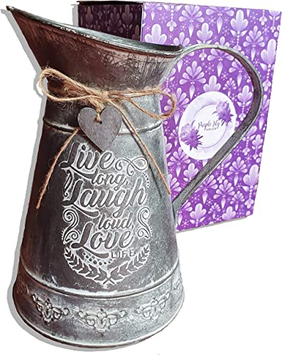 Galvanized Metal Vintage Vase with Gift Box French Country Decor Farmhouse, Rustic Jug with Embossed Live, Laugh, Love Inspirational Quote Decorative Pitcher as Table Centerpiece for Fresh Flowers
