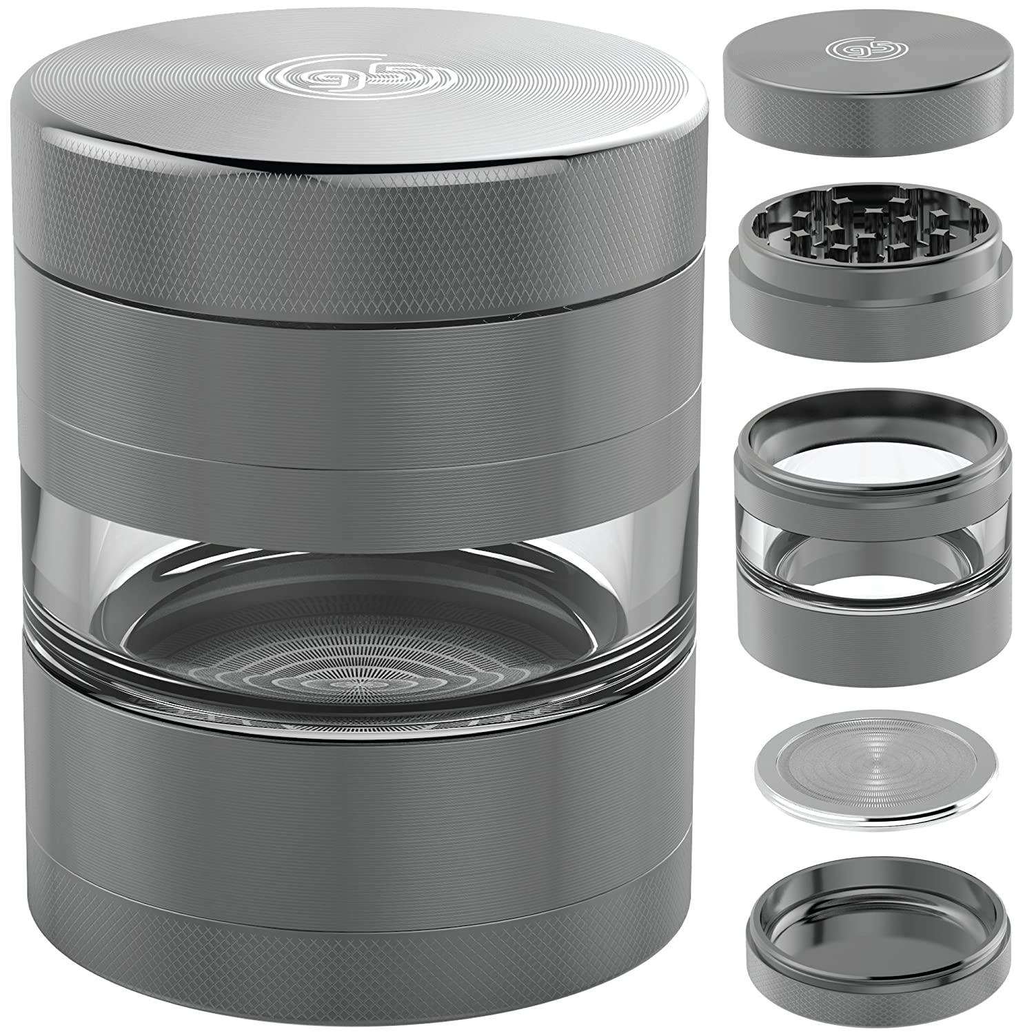 2.5 Inch 5 Piece Herb & Spice Grinder with Best Pollen Catcher for Keef – Includes REMOVABLE Stainless Steel Screen/Kief Scraper/Travel Bag (Gunmetal) 9to5 Grinders COMINHKPR89559