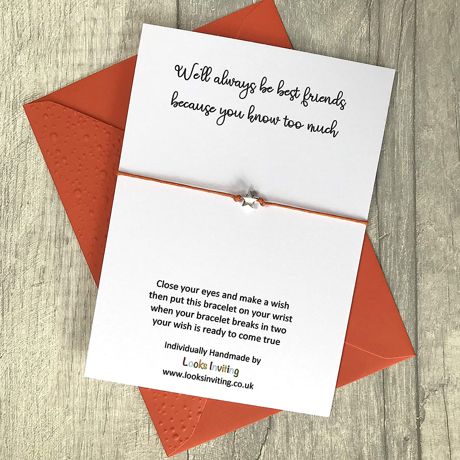 Well always be best friends because you know too much Friends Wish Bracelet Gift Choose your colour of cord and envelope