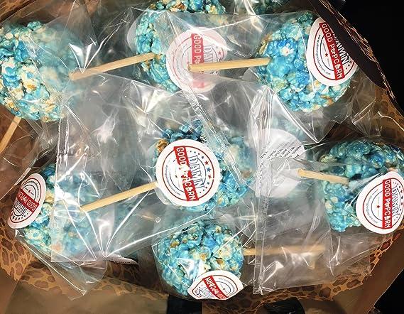 Amazon Com 24 Light Blue Old Fashioned Popcorn Balls On A Stick