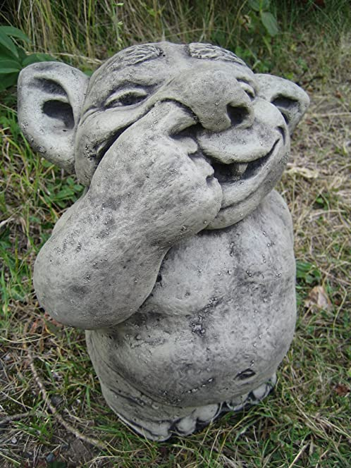 Nose Picking Troll Stone Garden Ornament