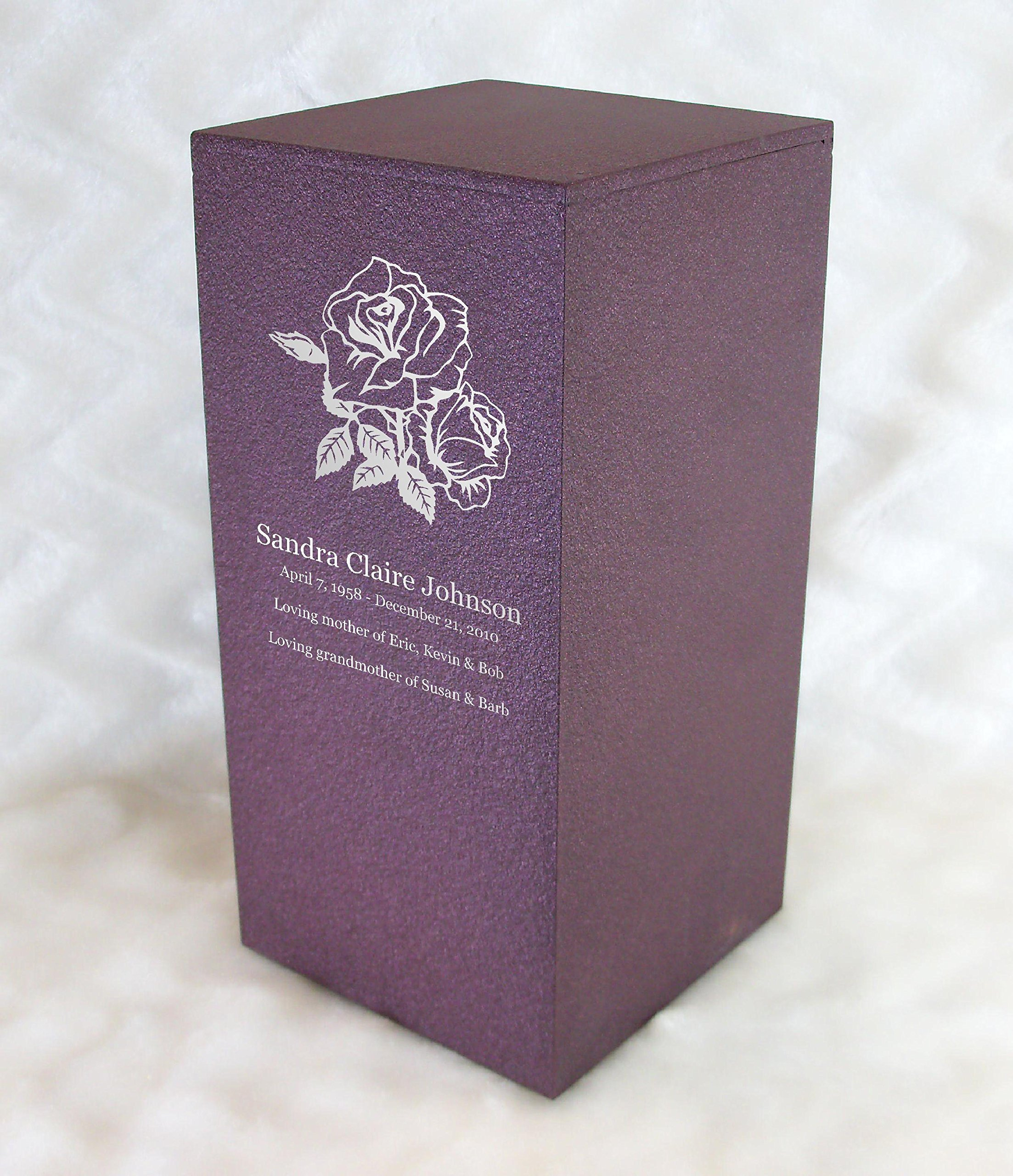 PERSONALIZED Custom Engraved Roses Cremation Urn Vault by Amaranthine Urns, made in America in the USA, Eaton DL (up to 200 lbs living weight) (Rose Wine) by Amaranthine Urn Company