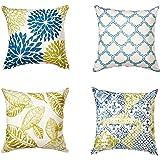 "Phantoscope Living Blue&Green Decorative Throw Pillow Case Cushion Cover 18"" x 18"" 45 x 45 cm Set of 4"