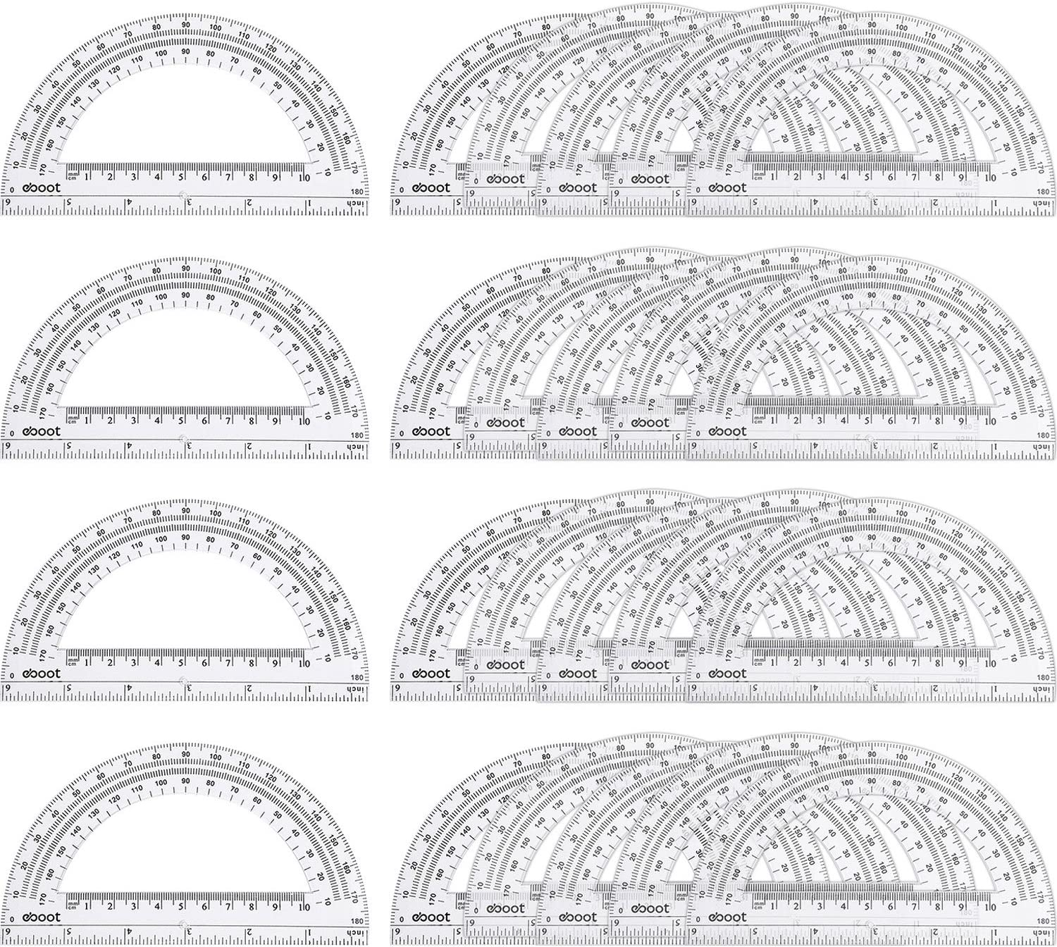 24 Pack Plastic Protractors Math Protractor 180 Degrees 6 Inch, Clear : Office Products