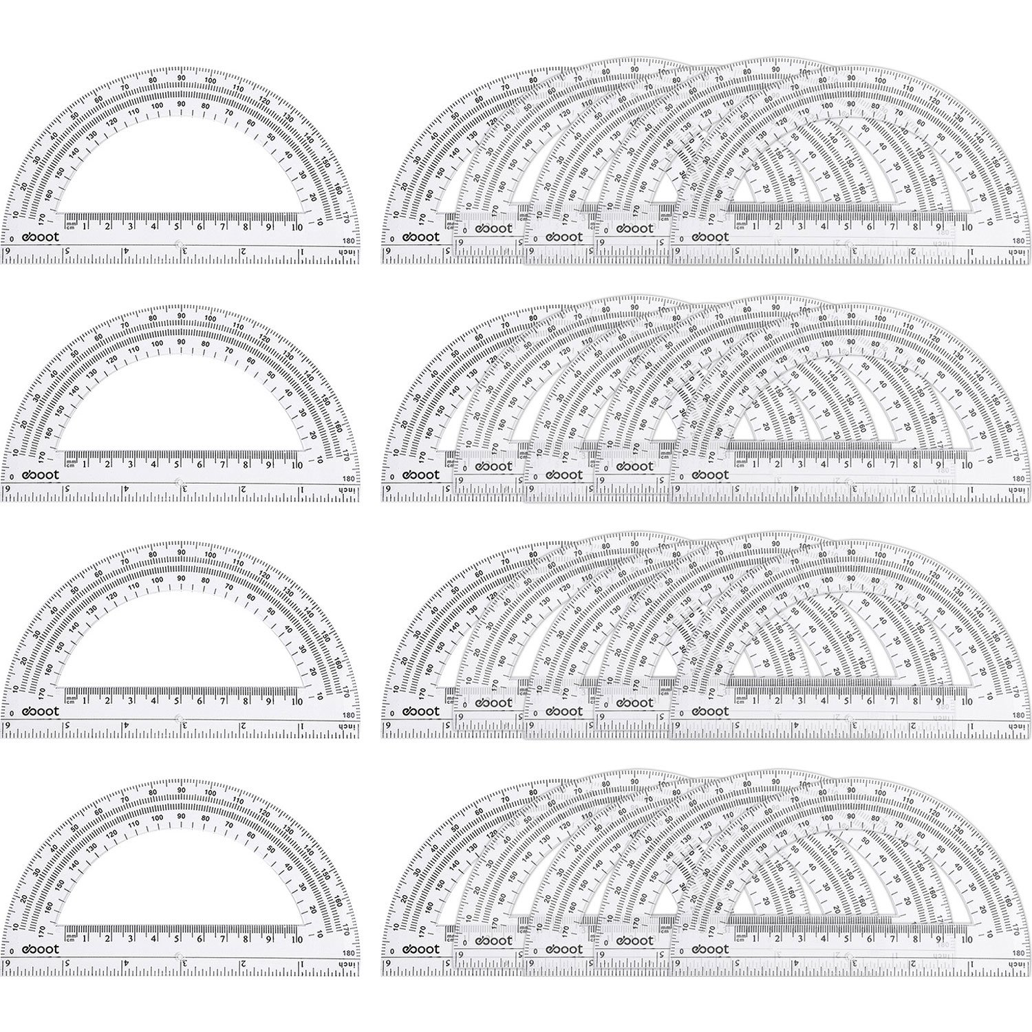 24 Pack Plastic Protractors Math Protractor 180 Degrees (6 Inch, Clear) by eBoot