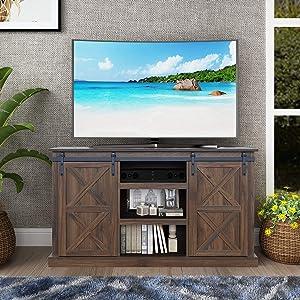 Sliding Barn Door TV Stand, Living Room Entertainment Center, Storage Cabinet with Shelves (Dark Walnut)