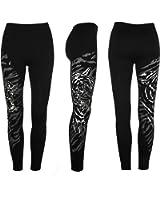 New Ladies Womens Tiger Print Patterned Leggings Black Tights