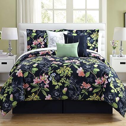 PH 7 Piece King Blue/Pink/Green/Multi Comforter Set, Floral Pattern, Down  Alternative Bedding Bedroom Set, Soft Microfiber Material, Casual, Cottage  & ...