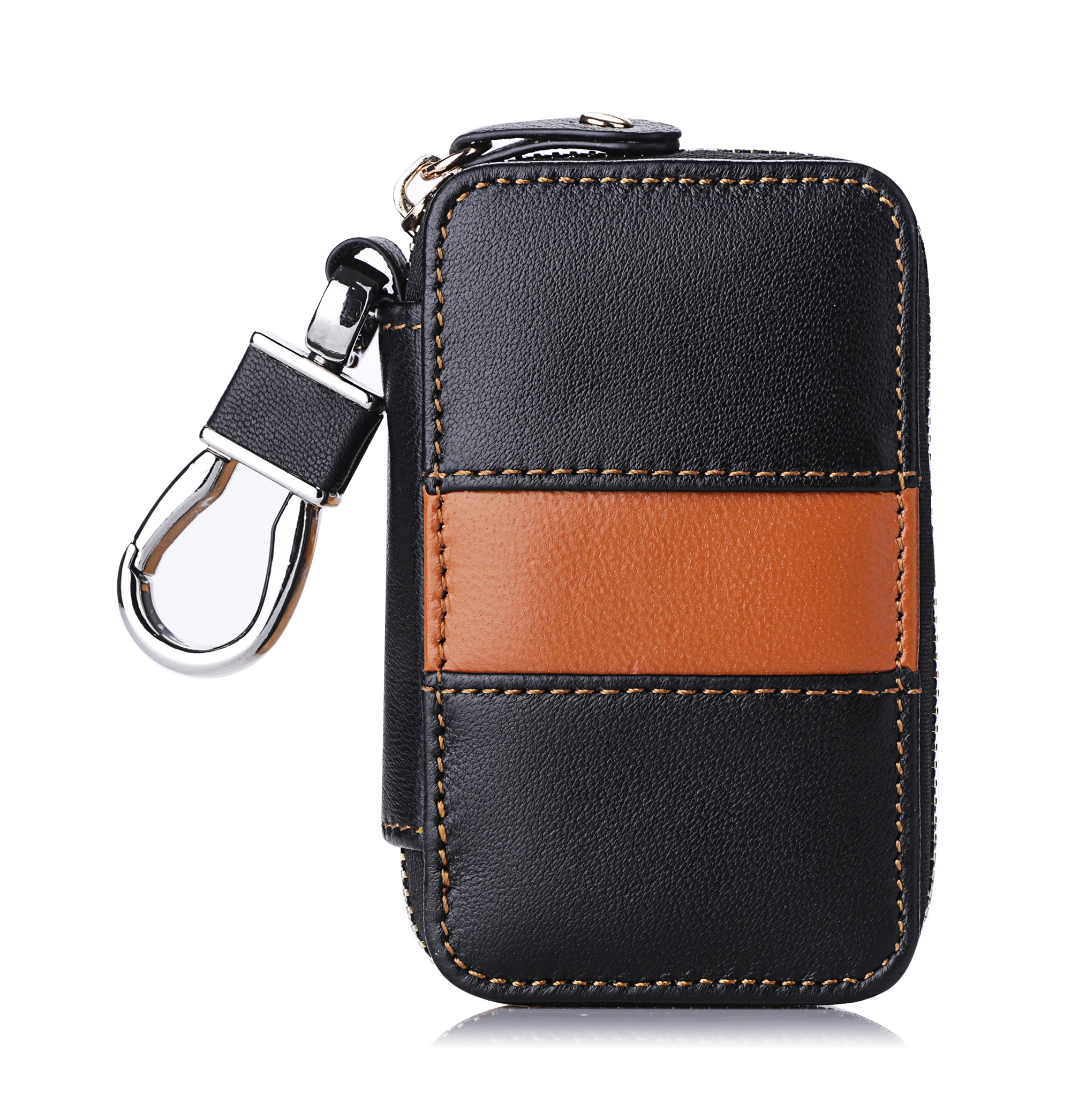 FYY Genuine Leather Keychain Bag, Handmade Car Keyring Holder Metal Hook and Wallet Zipper Case for Auto Remote Key Fob Brown and Black
