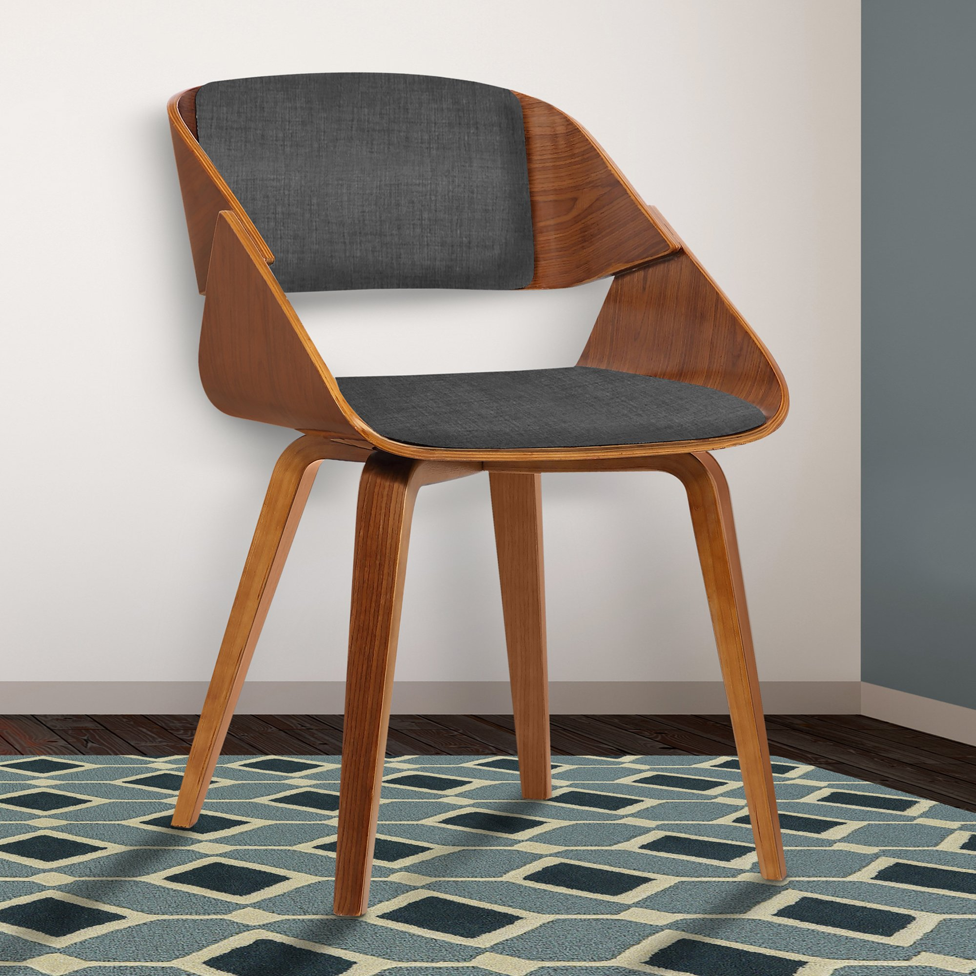 Armen Living LCIVCHWACH Ivy Dining Chair in Charcoal Fabric and Walnut Wood Finish