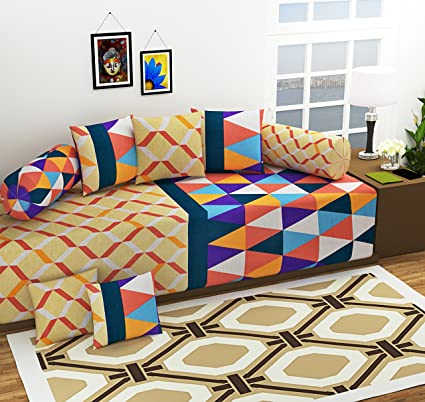 Amayra Home Geometric Design 100% Cotton 120 TC Designer Printed 8Pc Diwan set(1 Single Bedsheet, 2 Bolster Covers, 5 Cushion Covers)