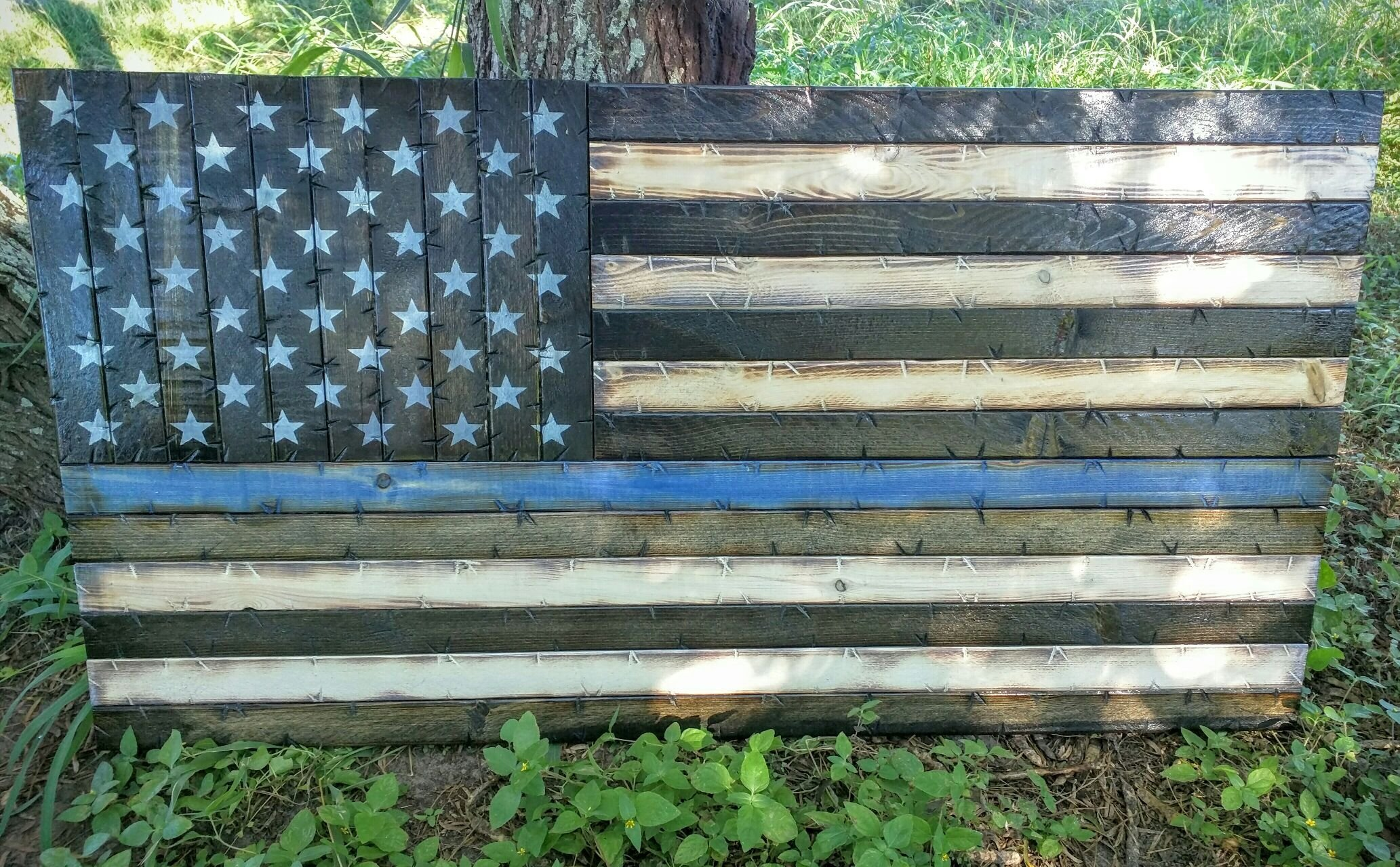 Rustic Wooden Thin Blue Line American Flag; 19''x37''