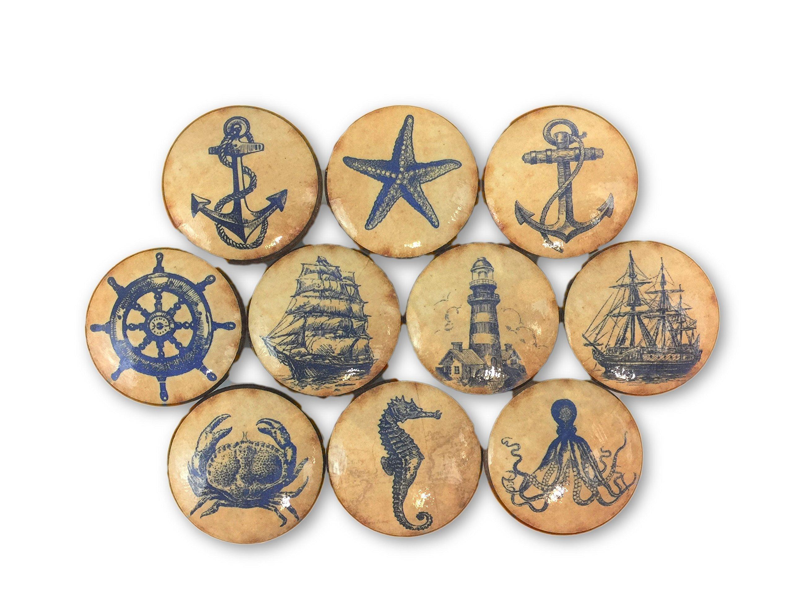 Set of 10 Navy Vintage Nautical Print Wood Cabinet Knobs