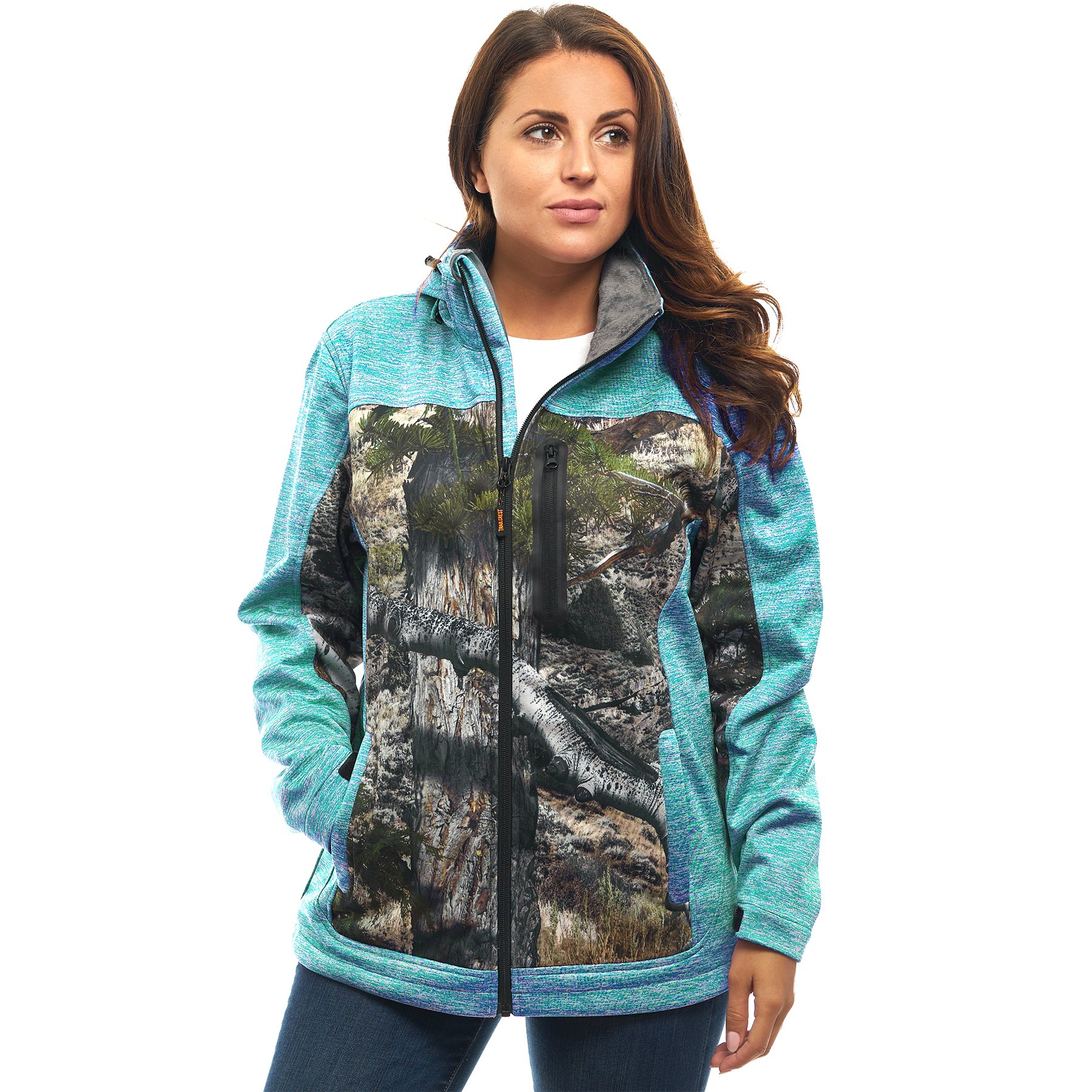 TrailCrest Women's Softshell Jacket, Ultra Soft Plush Lining Mossy Oak Camo Patterns (Teal Heather - Medium)