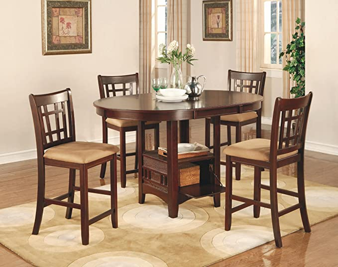 c23601826e28 Amazon.com - Coaster Lavon 5 Piece Counter Table and Chair Set in Cherry -  Table & Chair Sets