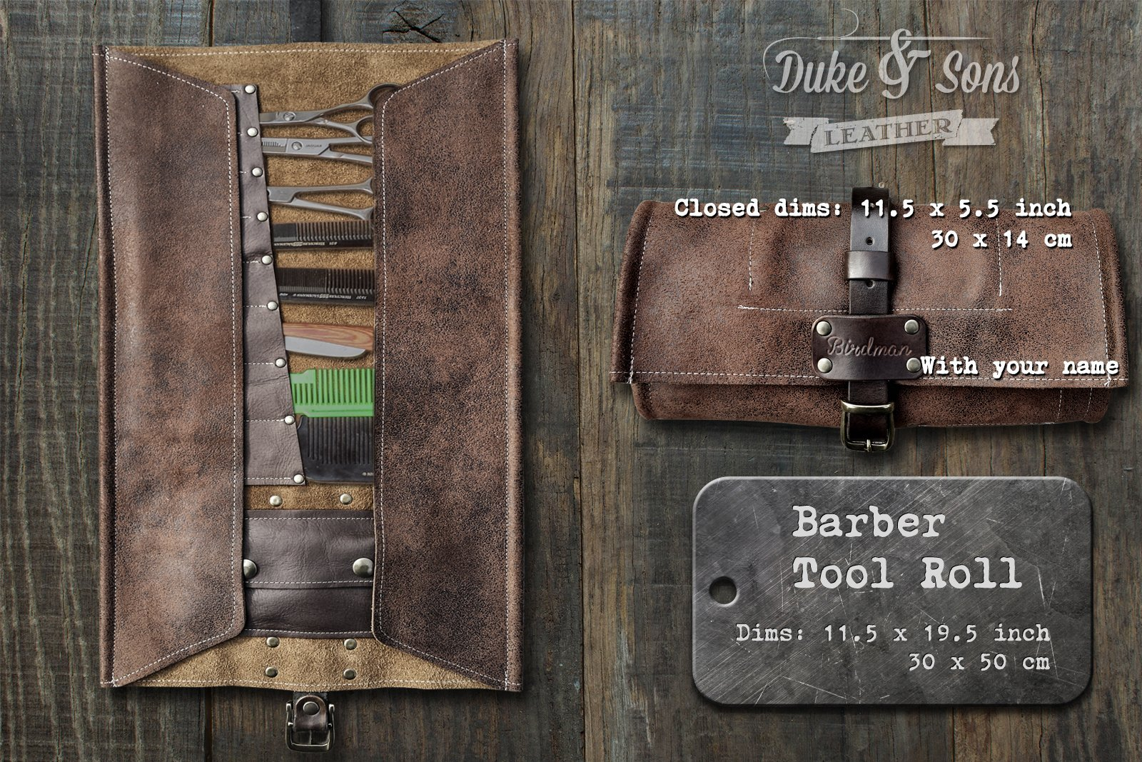 Barber Tool Roll, (leather, handmade and personalized) with pockets for shears,combs and all barber tools