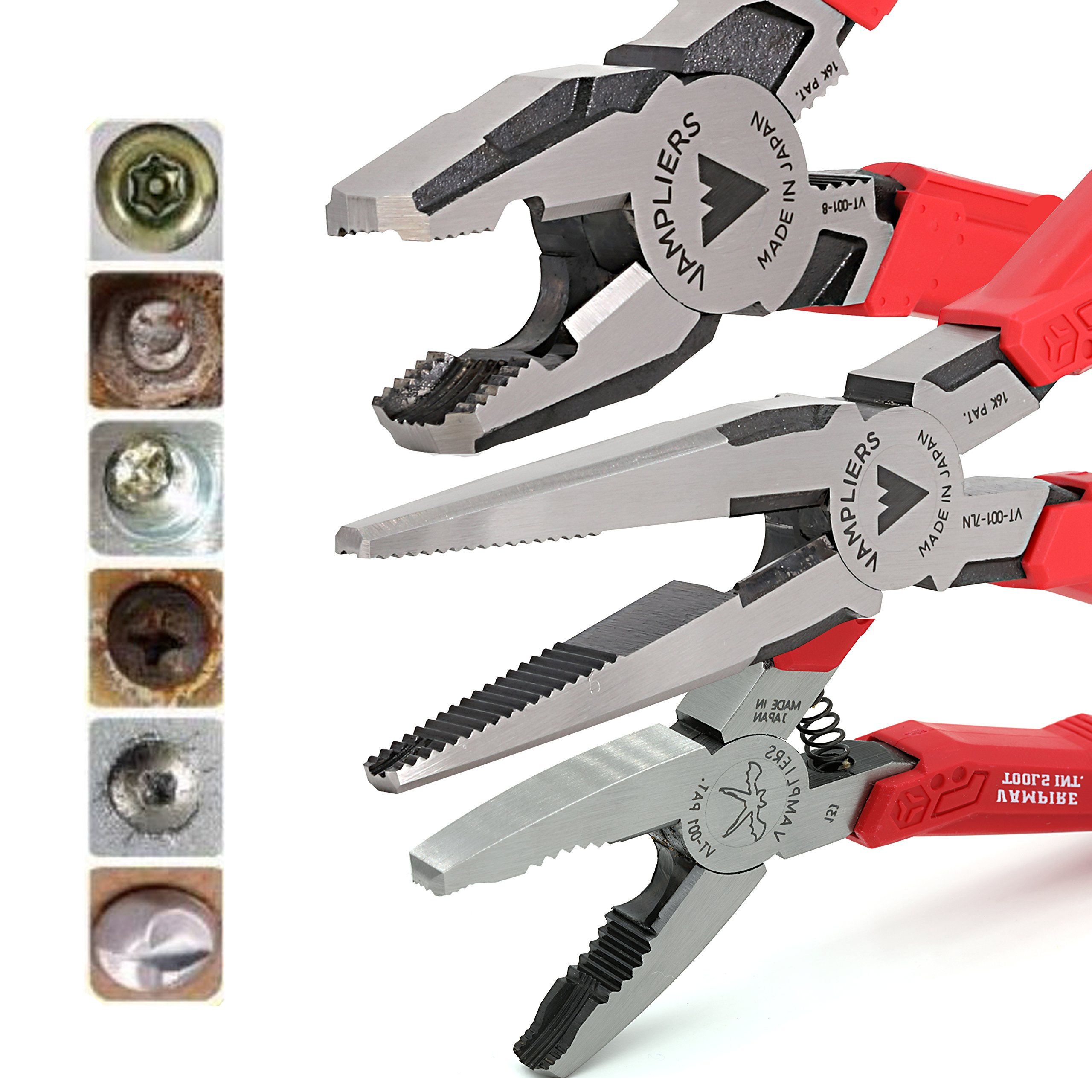 VamPLIERS. World's Best Pliers! 3-PC Set S3F Specialty Screw Extraction Pliers. Extract Stripped Stuck Security, Corroded, or Rusted Screws