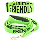 "Colour Coded Half-Check Dog Collar & Lead Set, PREVENTS Accidents By Warning Others Of Your Dog In Advance! ""CAUTION, NO DOGS, FRIENDLY, NERVOUS, BLIND DOG, DEAF DOG, TRAINING, WORKING, ADOPT ME,DO NOT FEED"" (c. GREEN ""FRIENDLY"" (Known As Friendly))"