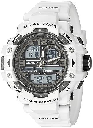 e91caa81ee8c Armitron Sport Men's 20/5062WHT Analog-Digital Chronograph White Resin  Strap Watch