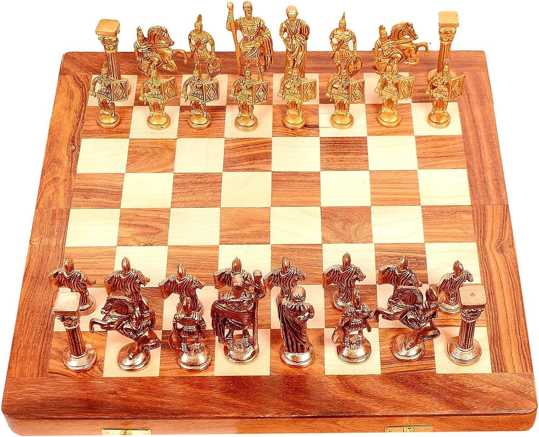 Purpledip 10404 - Juego de ajedrez Coleccionable Golden Era: Piezas de latón y Tablero Plegable de Madera: Amazon.es: Juguetes y juegos
