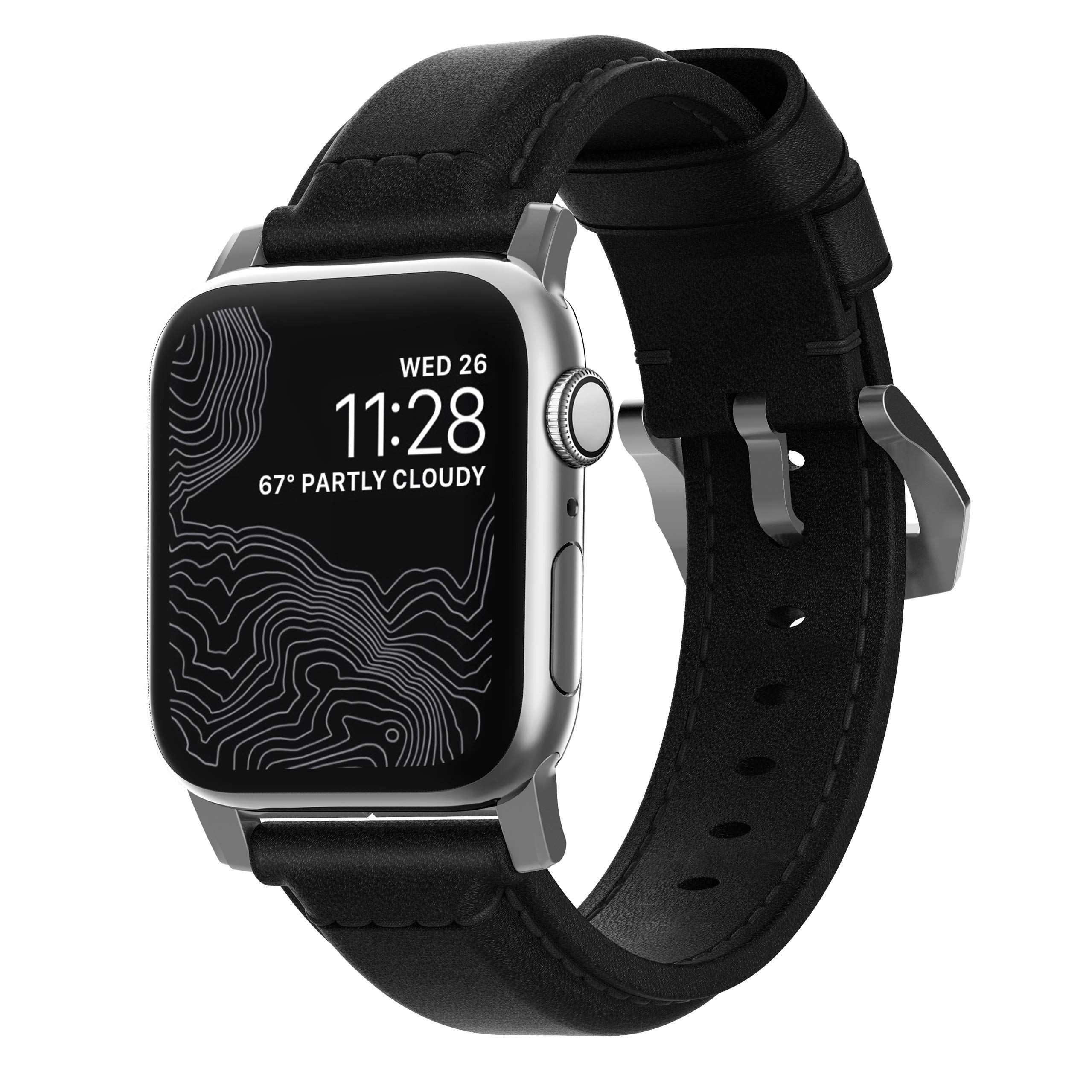 Nomad Traditional Strap for Apple Watch 44mm/42mm | Black Horween Leather | Silver Hardware