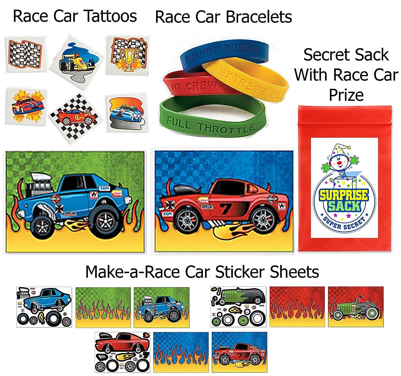 amazon com 96 pc race car party favor pack 12 make a race car