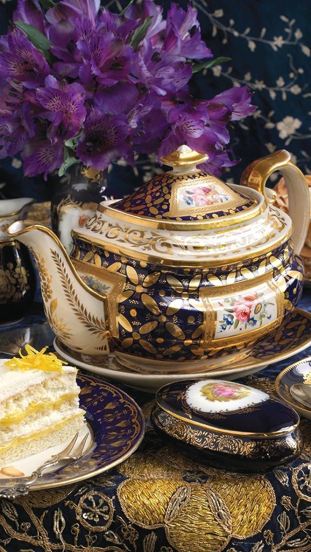 ティーセット tea with Charles Dickens iPhoneSE/5s/5c/5(640×1136)壁紙画像
