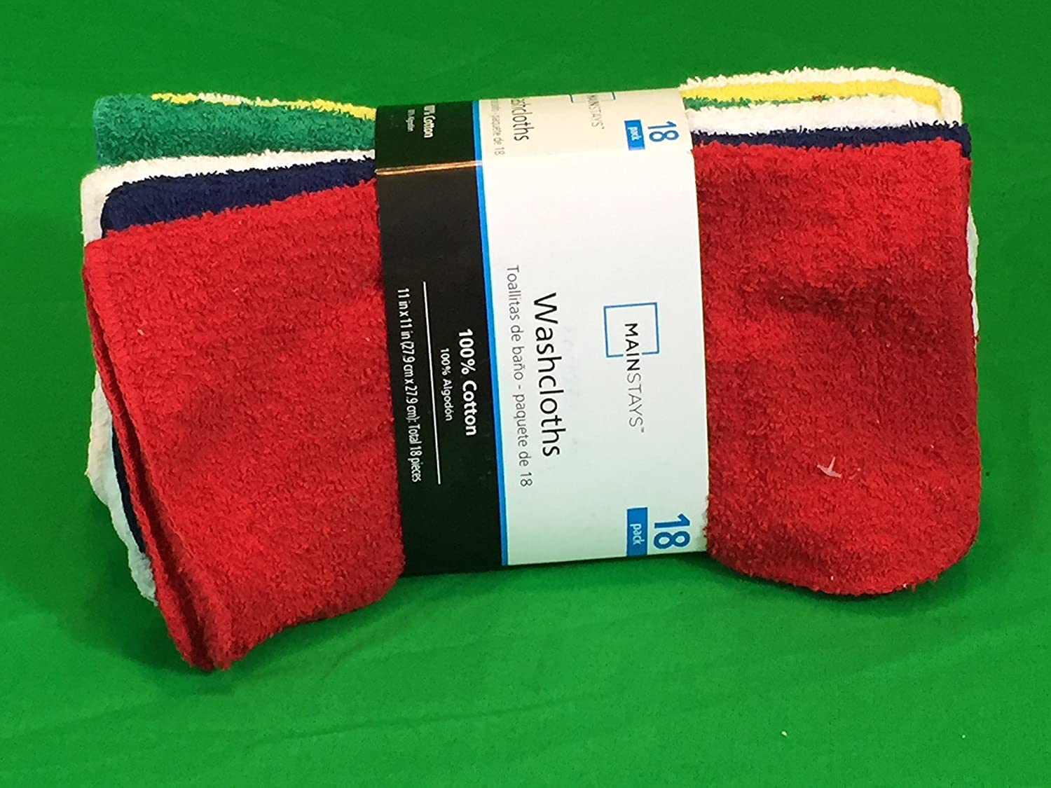 Amazon.com: Mainstays 18 Pack Washcloths - Primary Colors: Home & Kitchen