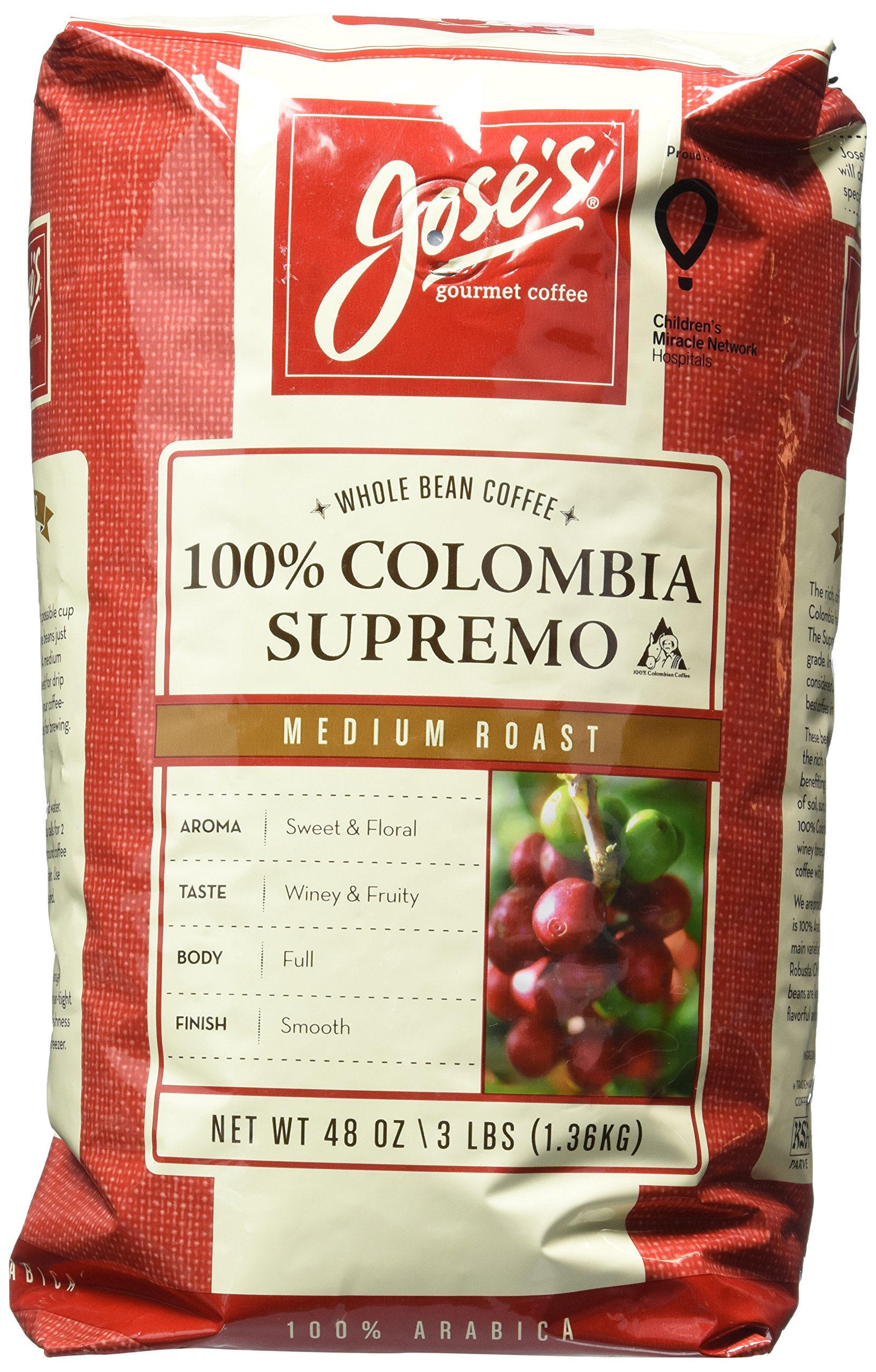 Jose's Whole Bean Coffee Columbia Supremo 3 Lbs