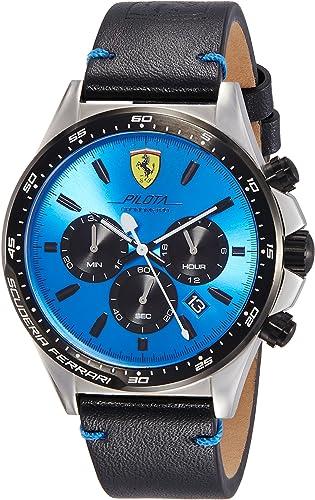 Scuderia Ferrari Men S Chronograph Quartz Watch With Leather Strap 830388 Amazon De Uhren