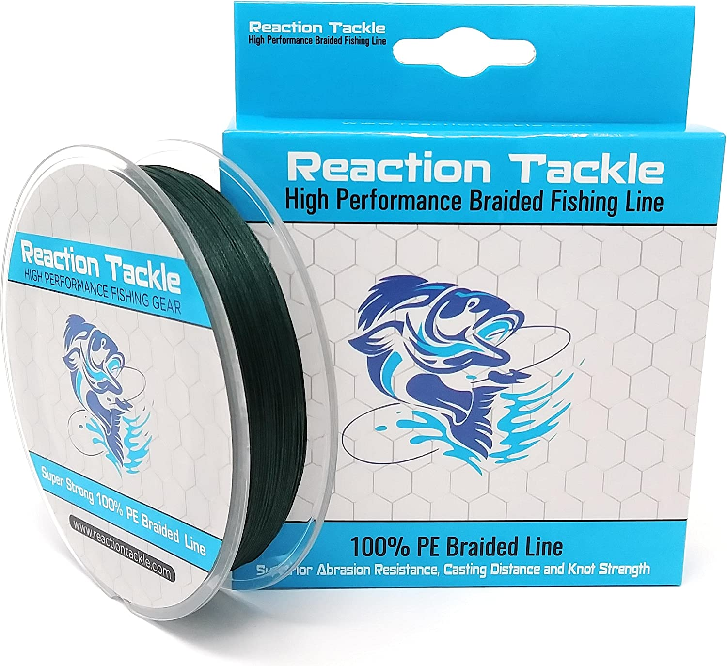 Reaction Tackle New 9 Strand Braided Fishing Line- Extreme Casting Distance Ultimate Strength Fresh or Saltwater Fishing