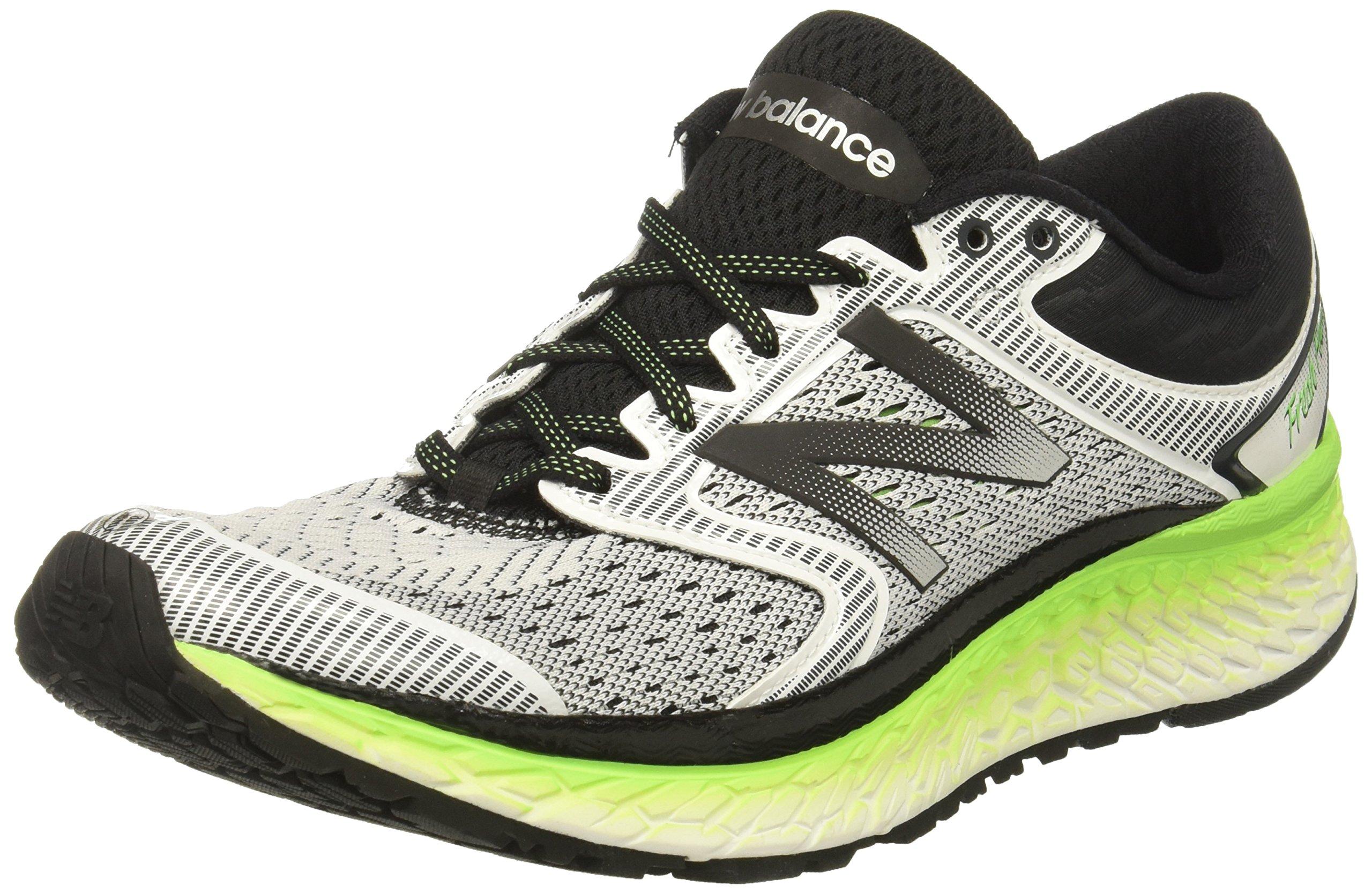 New Balance Men's 1080V7 Running-Shoes, White/Energy Lime, 14 D US by New Balance