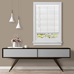 "Achim Home Furnishings, White Cordless GII Madera Falsa 2"" Faux Wood Plantation Blind 27"" x 64"",MFG227WH02"