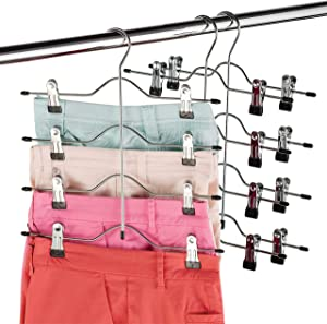 Zober Space Saving 4 Tier Skirt Hanger with Adjustable Clips (3 Pack) 4-on-1 Hanger, GAIN 50% More Space, Reliable Non Slip Grip, Durable Metal Pants Hanger Great for Slack, Trouser, Jeans, Towels Etc
