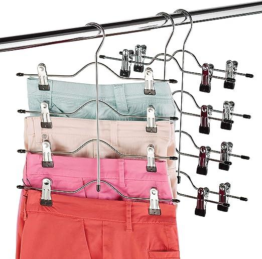 Durable Rack Clips Home Wardrobe 4 Tier Trouser Clothes Hanger Space Saver