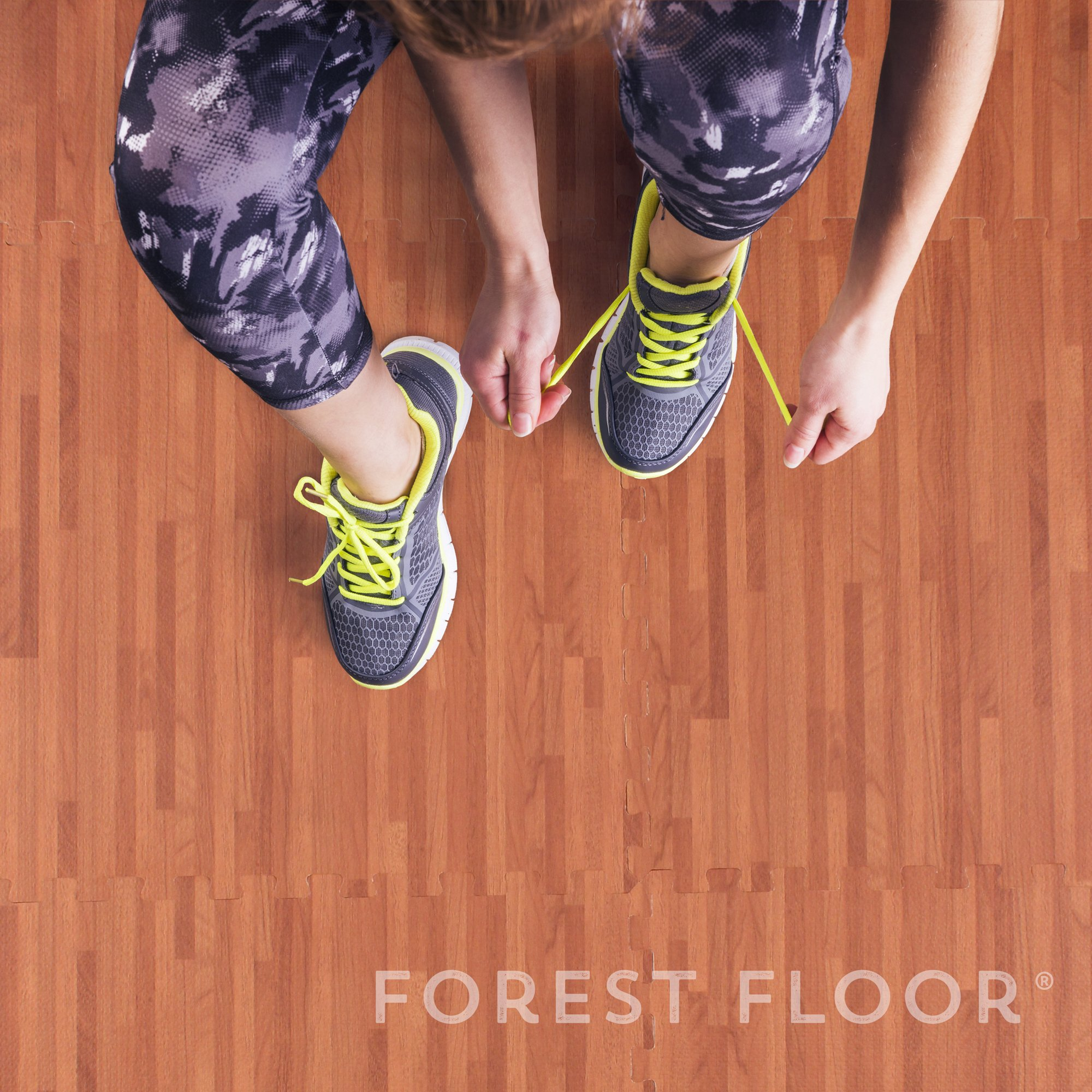 Forest Floor 3/8'' Thick Printed Wood Grain Interlocking Foam Floor Mats, 16 Sq Ft (4 Tiles), Mahogany by Forest Floor (Image #6)