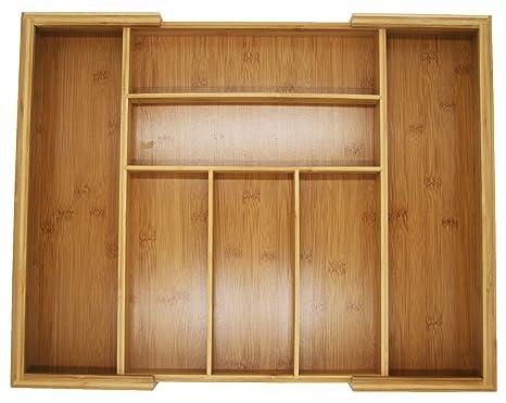 Bandeja de bambú extensible y organizador de cajones para organizar y almacenar utensilios de cocina y