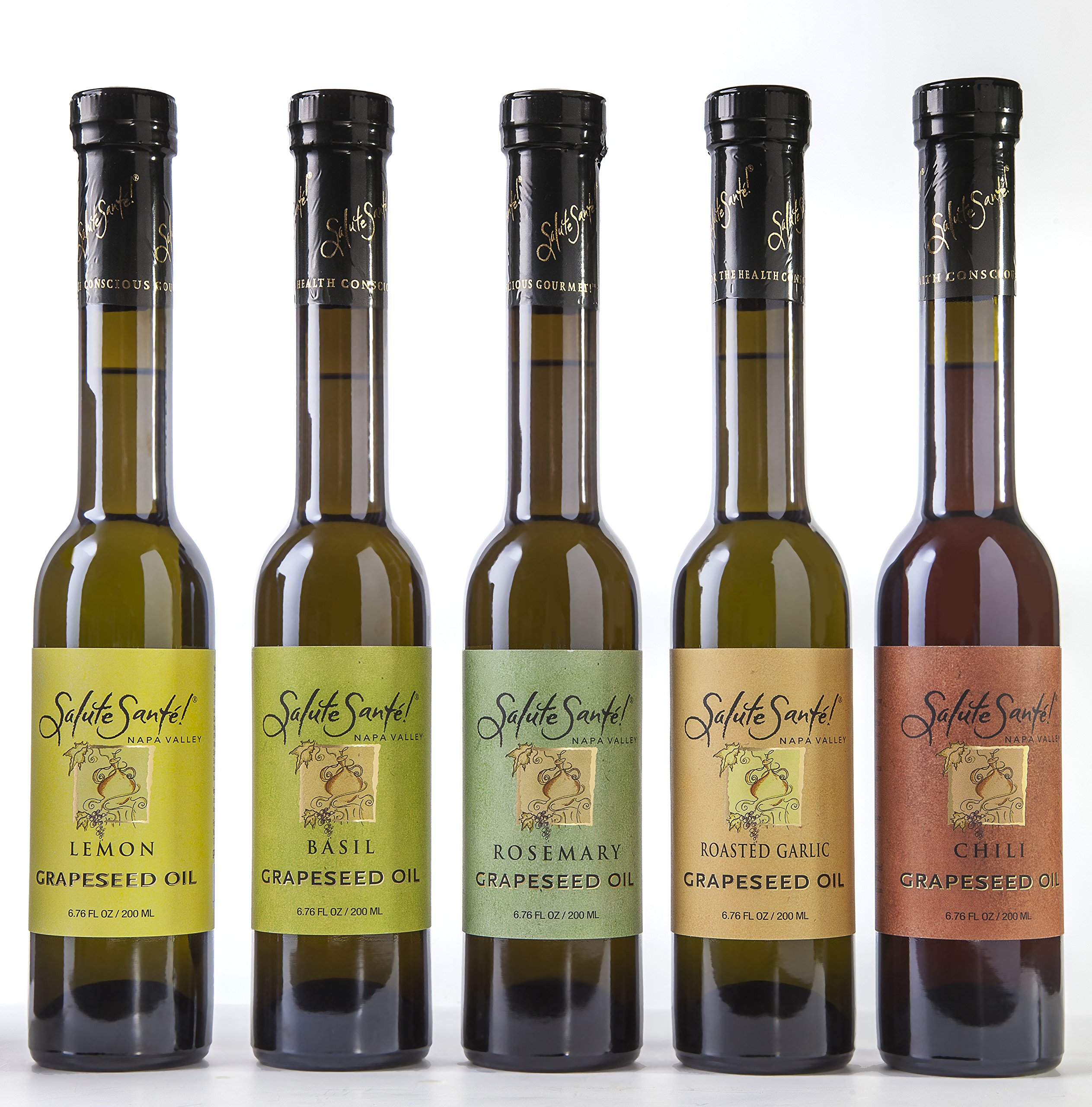 Salute Sante Infused Grapeseed Oil 200 ml (Roasted Garlic) Six Pack by Salute Santé