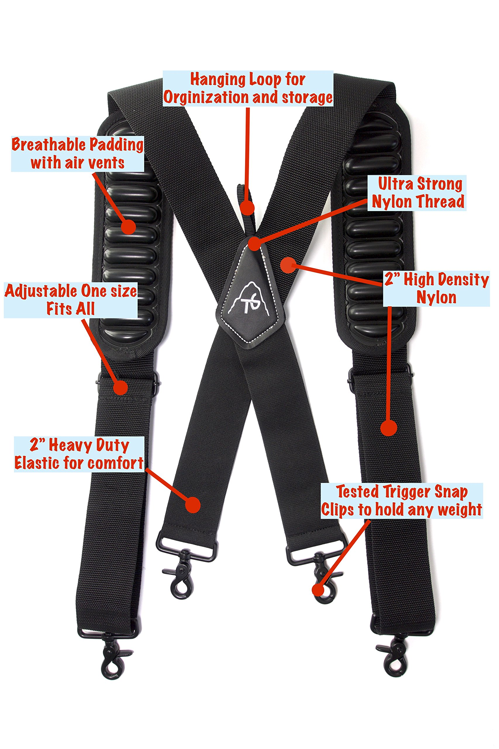 Tool Belt Suspenders- Heavy Duty Work Suspenders for Men, Adjustable, Comfortable and Padded -Includes- Tool Belt Loops and Strong Trigger Snap Clips by ToolsGold by ToolsGold (Image #7)