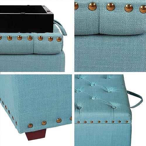 Asense Square Fabric Ottoman