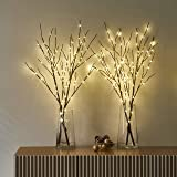 LITBLOOM Lighted Brown Willow Branches with Timer Battery Operated 2 Sets Tree Branch with Warm White Lights for Holiday…