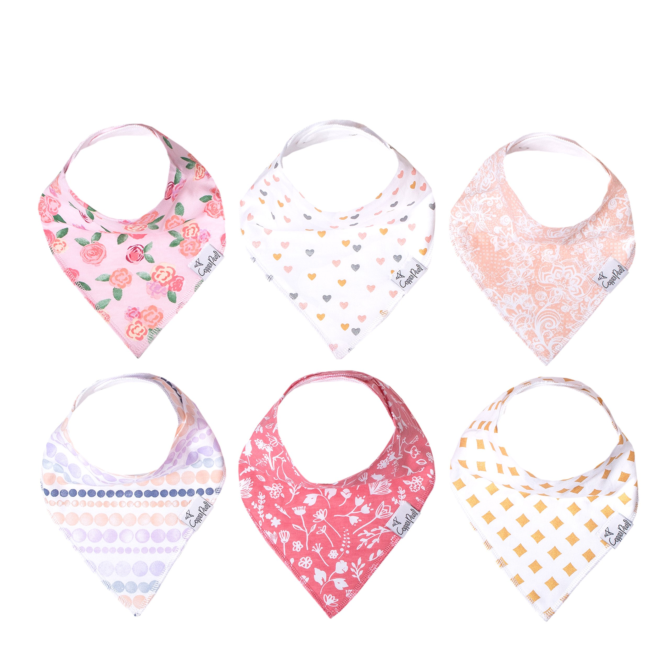 """Baby Bandana Drool Bibs for Drooling and Teething 6 Pack Gift Set For Girls """"Amelia Set'' by Copper Pearl"""