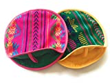 """Grahmart Pack of 2 Real Mexican Tortilla Warmer 9""""- Insulated, Microwaveable Cotton Fabric Pouch - Tortillero de Tela"""
