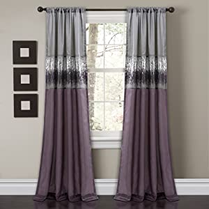 "Lush Decor Night Sky Curtain Panel for Living, Dining Bedroom (Single), 84"" x 42"", Purple and Gray"