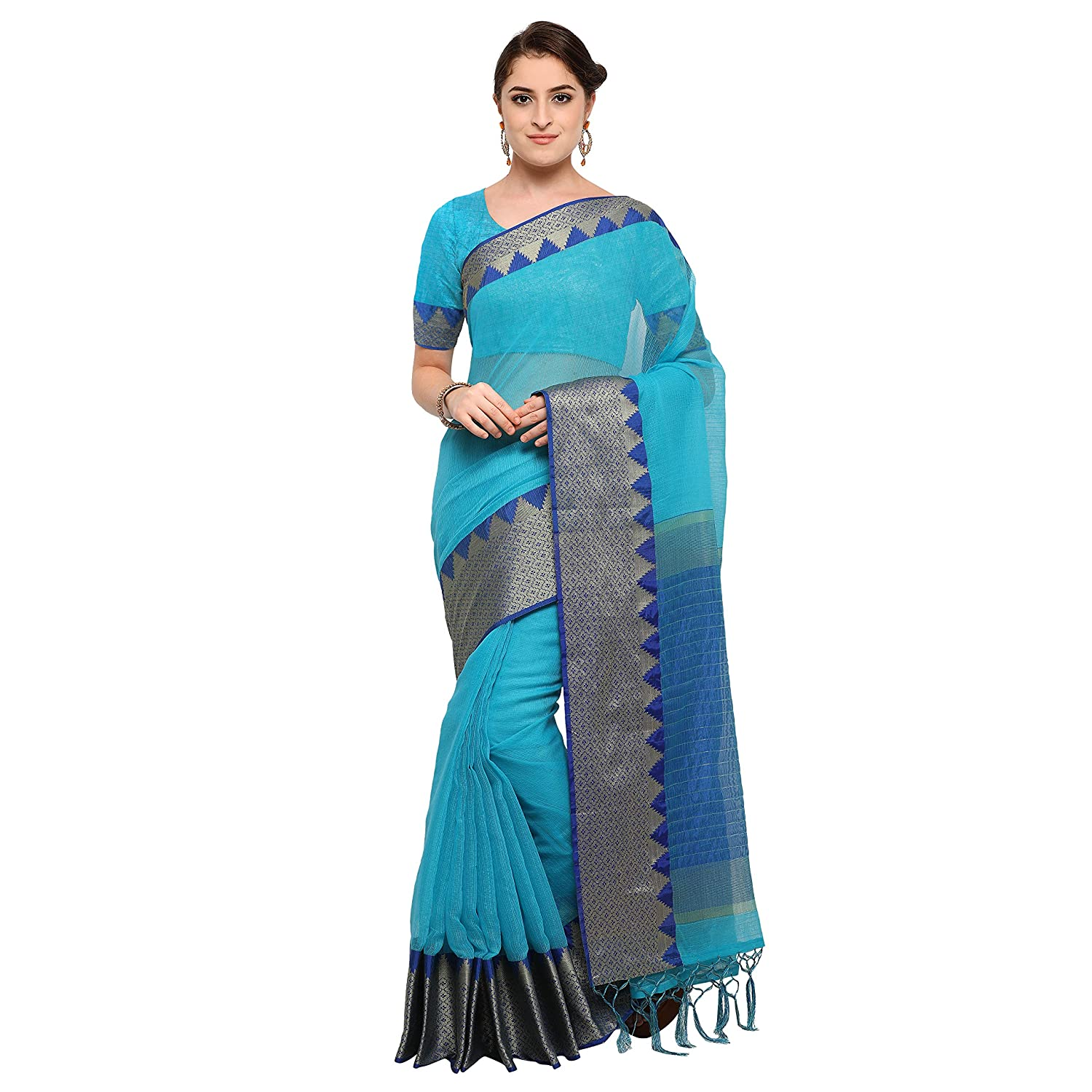 e23b40c4d1 Pisara Women Banarasi Cotton Silk Saree With Blouse Piece,Blue sari:  Amazon.in: Clothing & Accessories