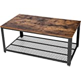 SONGMICS Antique Coffee Table Vintage Cocktail Table with Storage Shelf for Living Room 41.8''L x 23.7''W x 17.7''H ULCT61X